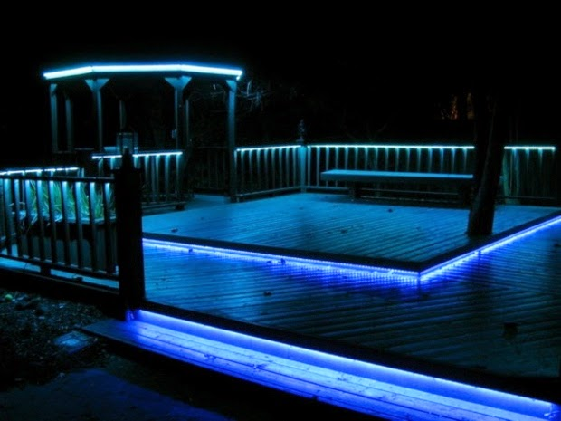 Outside Garden Lighting Ideas: Terrace Illuminate With Blue LED Strips