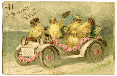 Vintage Easter Image - Chicks Riding in Car