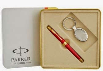 Buy Parker Aster Red Gold Trim Ball Pen and Keychain at Rs. 583 only