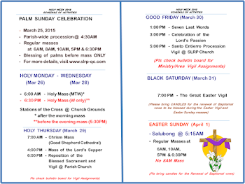 SLRP Holy Week  2018  Calendar