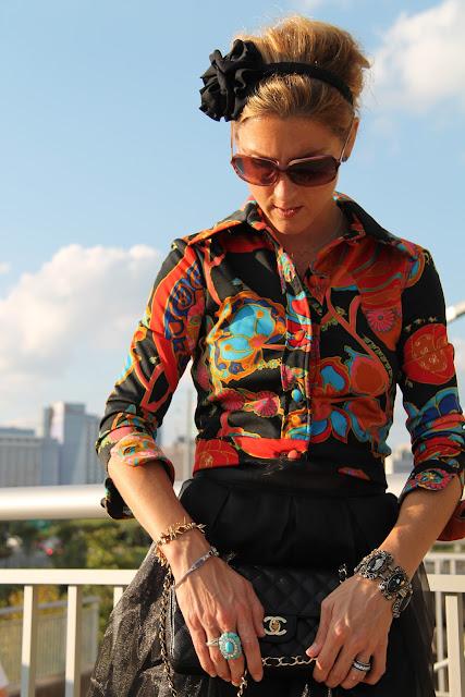 Vintage Lillie Rubin Jacket, Alyssa Nicole Skirt, BCBG Wedge Heels, Zoe Lynn & Co. Headband, Chanel Purse, Vintage Jewelry, Blinde Eyewear, Everybody Loves JoJo Bling Earrings