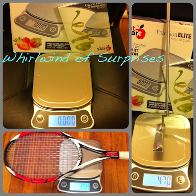 Precision scale for tennis rackets, golf putters