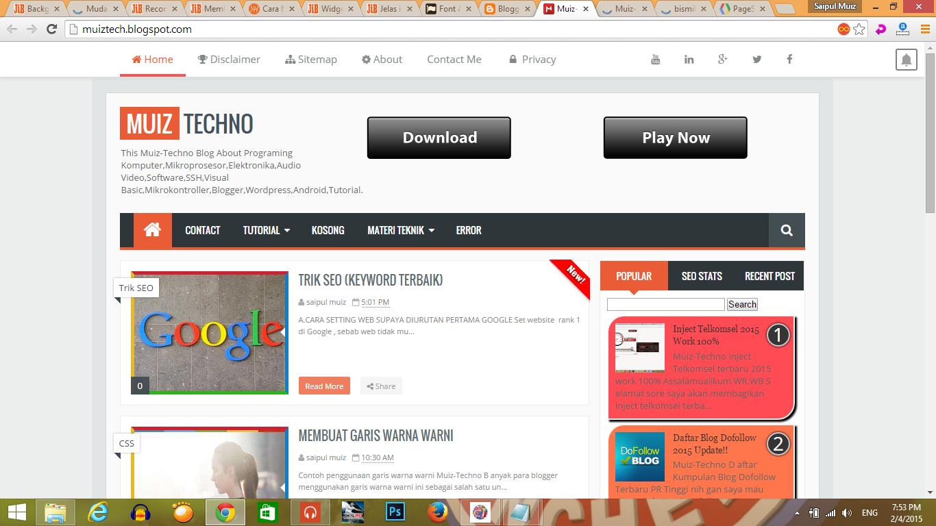 Membuat Bismillah Diatas Postingan blog atau disetiap postingan blog Muiz-Techno