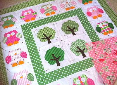 pink and green owl quilt