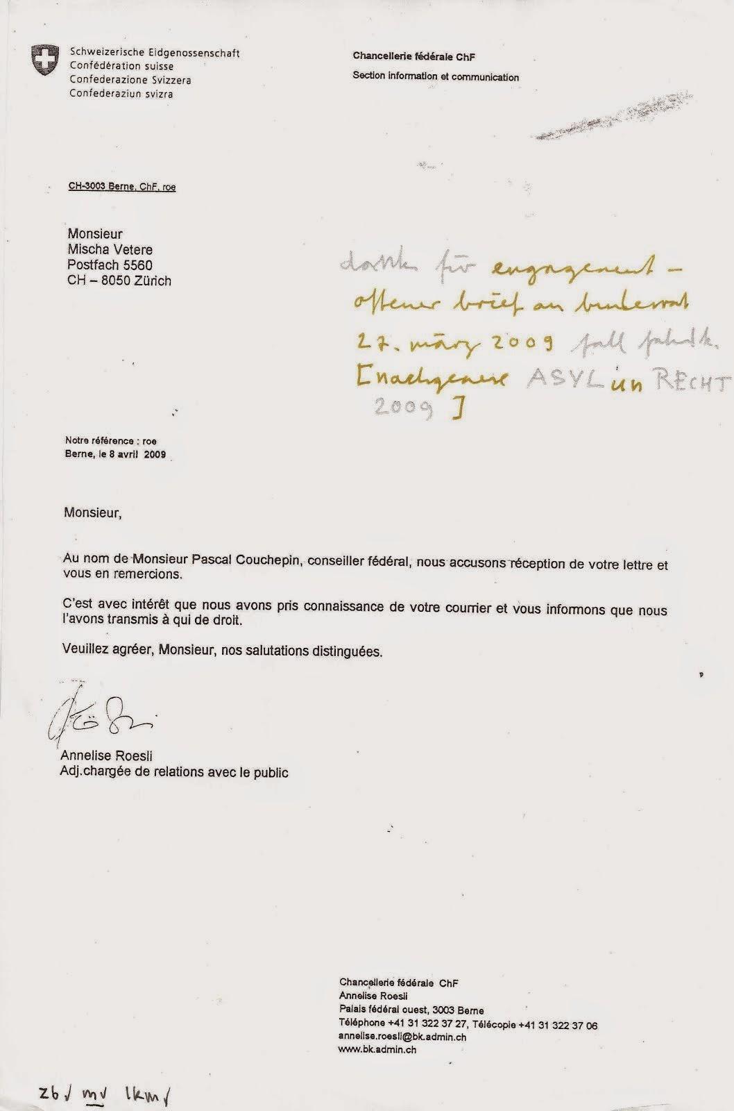 remerciement pascal couchepin, conseil fédéral  cas fahad k, la forteresse 2009  mischa vetere ews