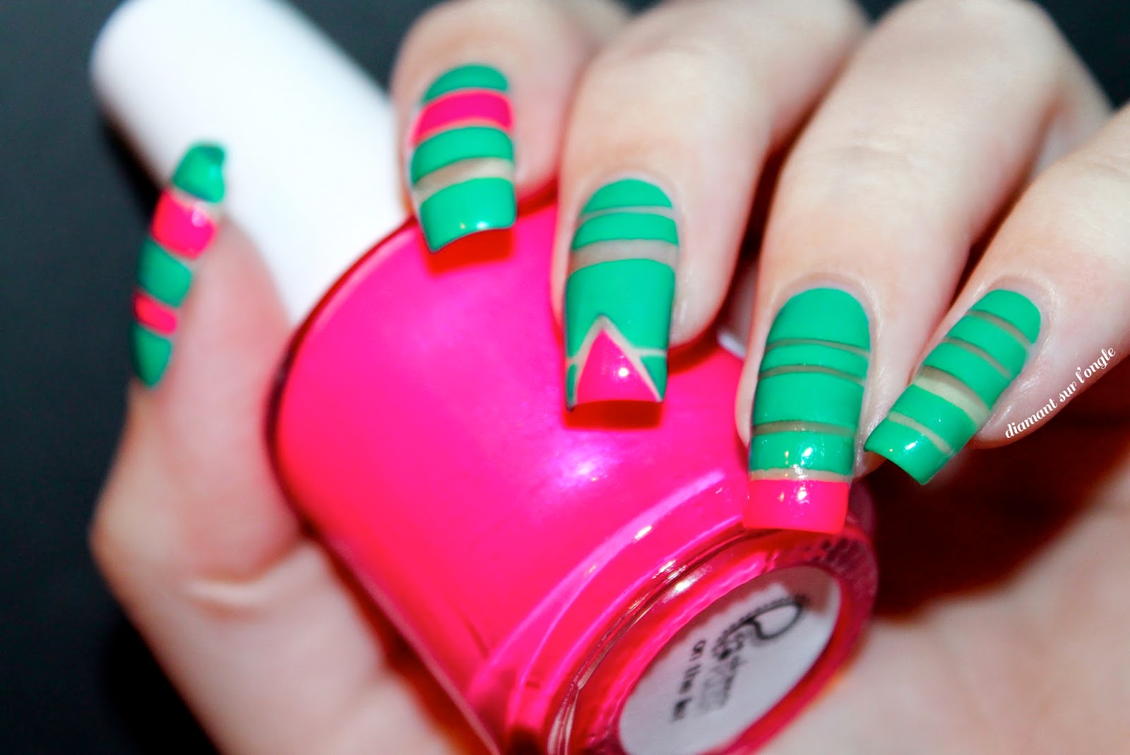 Bright and Neon Striping Tape Nail Art