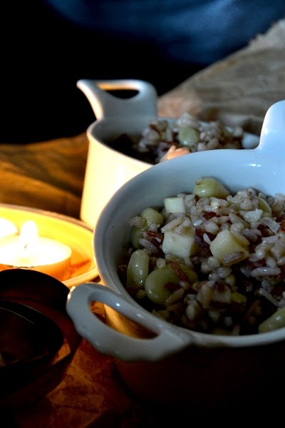 tris di risi e grano saraceno con fave e pecorino