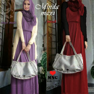Minda Maxi Dress Warna Ungu dan Merah