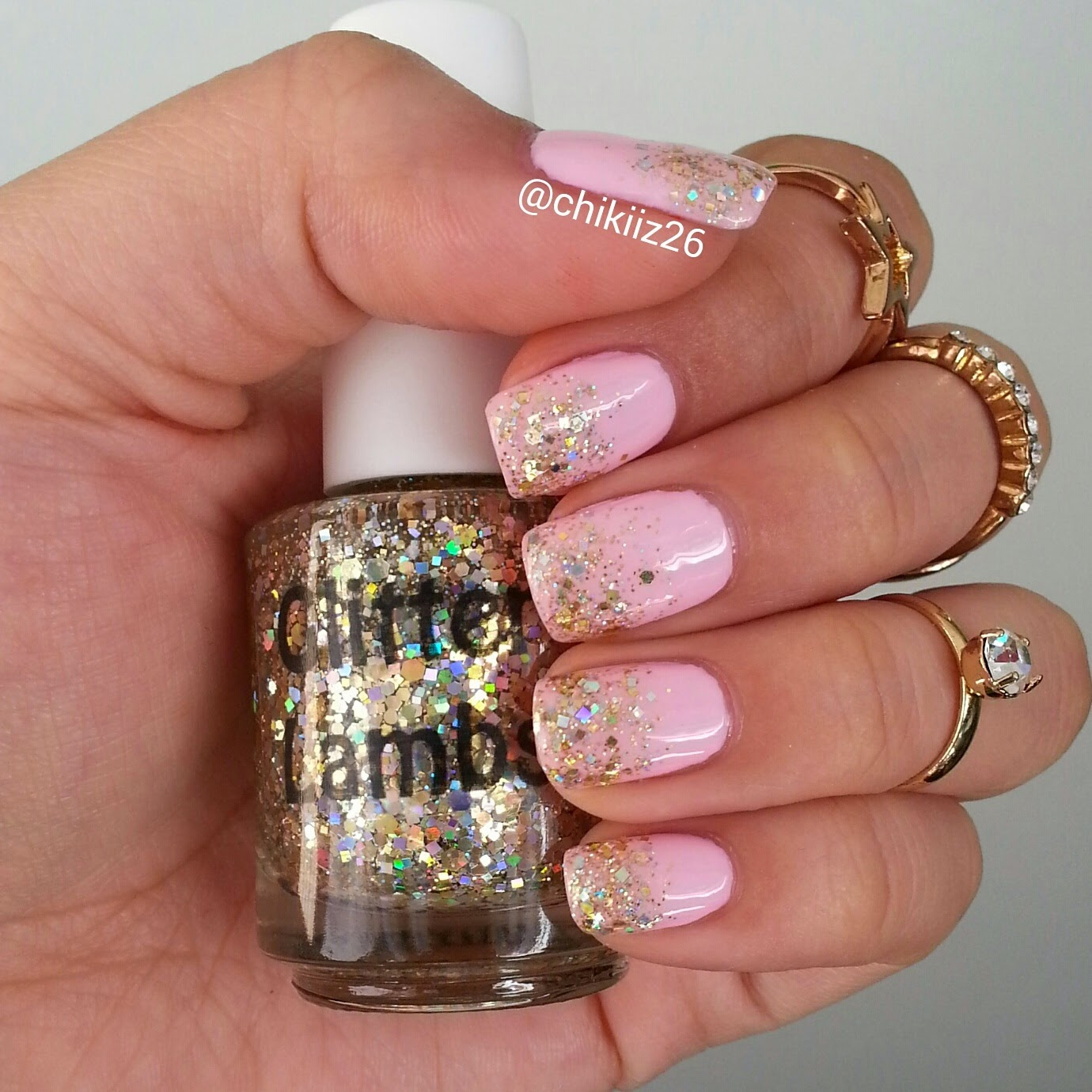 Million Dollar Gradient Glitter Lambs Nail Polish Worn by @Chikiiz26