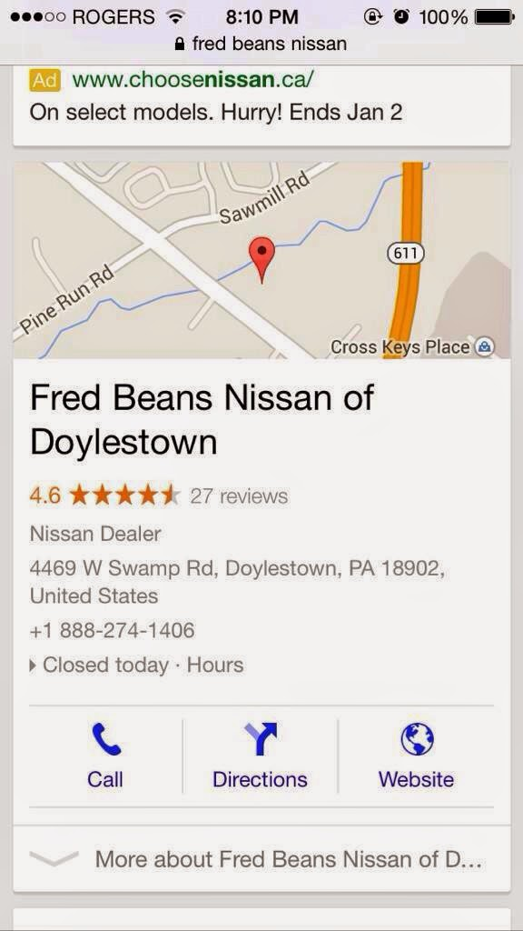 Google map showing racist tweeter's workplace, Fred Beans Nissan of Doylestown