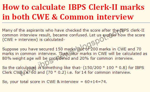 ibps clerk-II combined marks, ibps clerk-II score, ibps clerk-II interview result