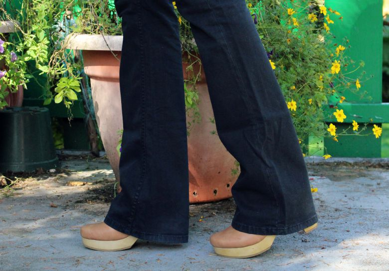 Flared pants and clogs