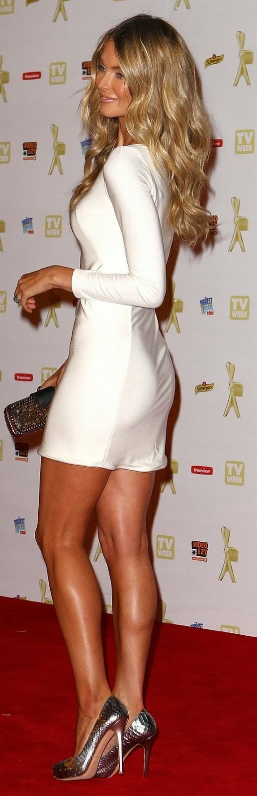 White Mini Dress With Silver Heel Shoes