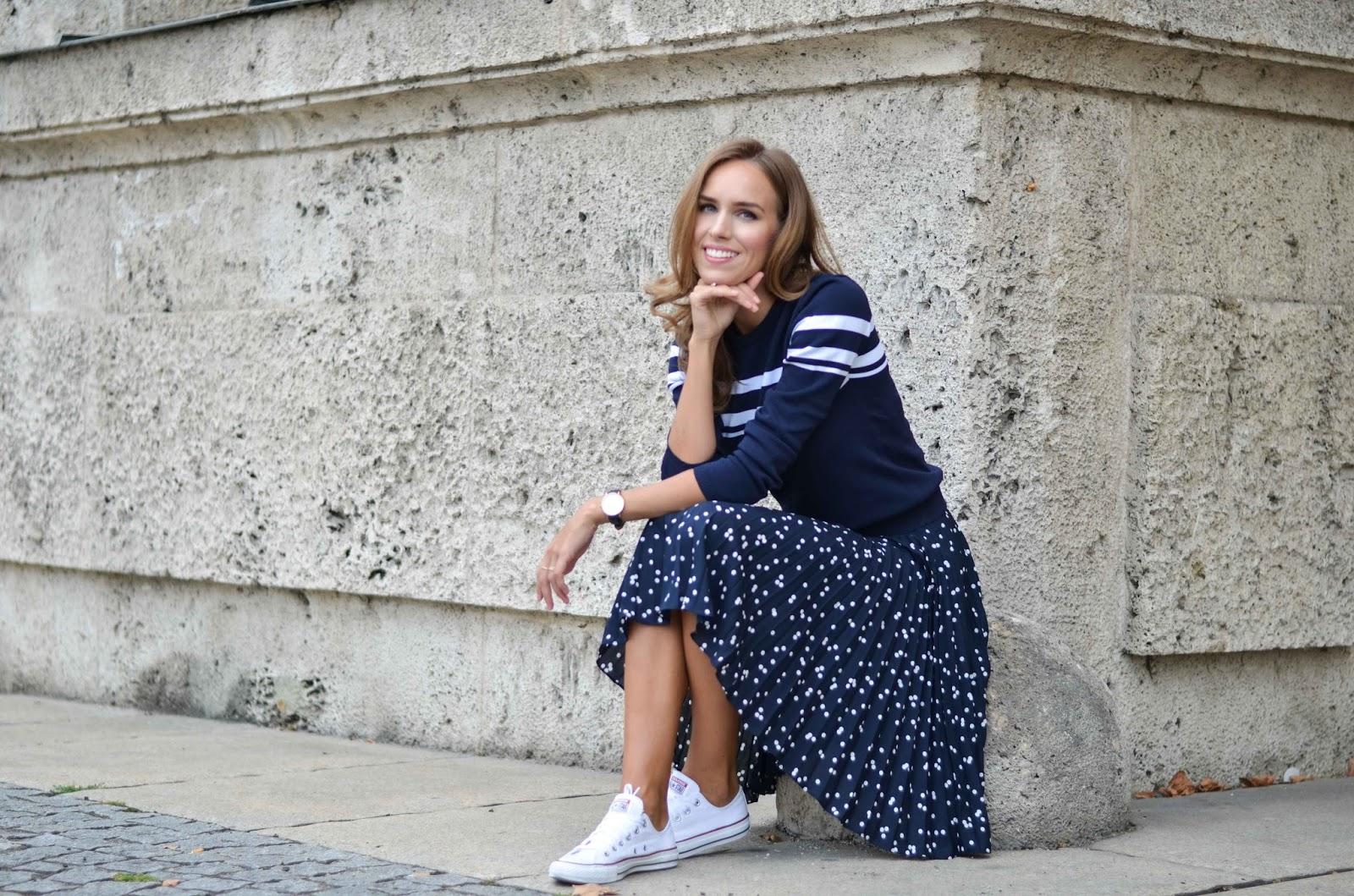 kristjaana mere blue polka dot skirt