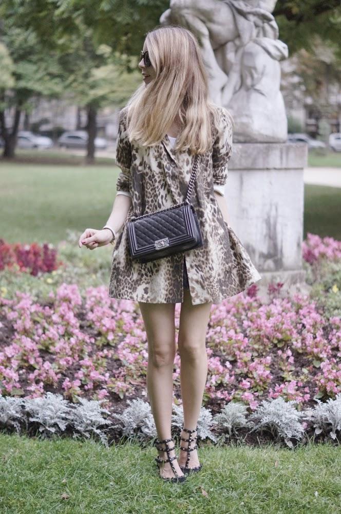 leopard coat, maje, céline, valentino rockstuds, chanek, boy bag, streetstyle, flowers, fashion blogge, parisienne, look du jour, outfit