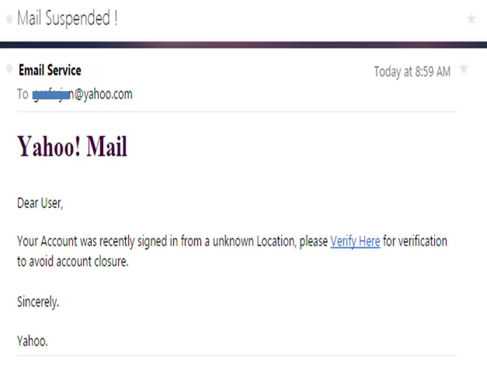 The iGorot Preacher: Yahoo Email Suspension Notice