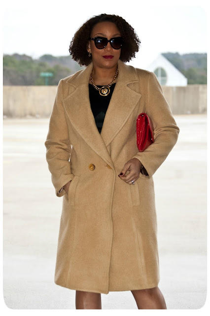 Classic coat made with camel hair from Mood Fabrics and Simplicity 1759.