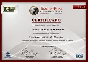 "Certificado do curso: ""Tranca Ruas"""