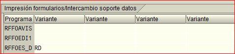 Programa y variante usados en el programa de pagos