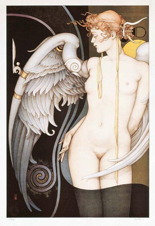 Michael Parkes pinturas litografias esculturas sensuais renascentistas vintage
