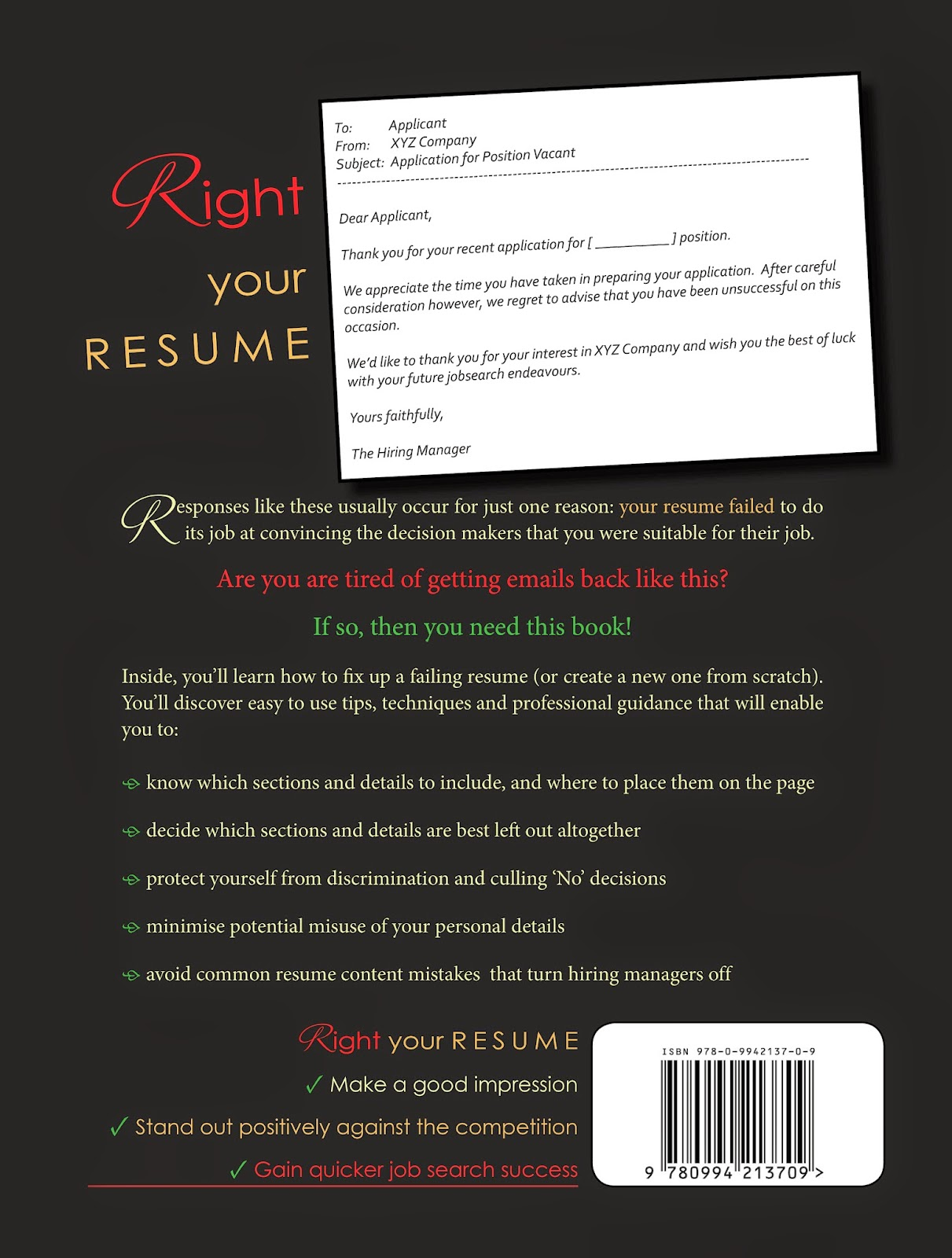 Right Your Resume Back Cover
