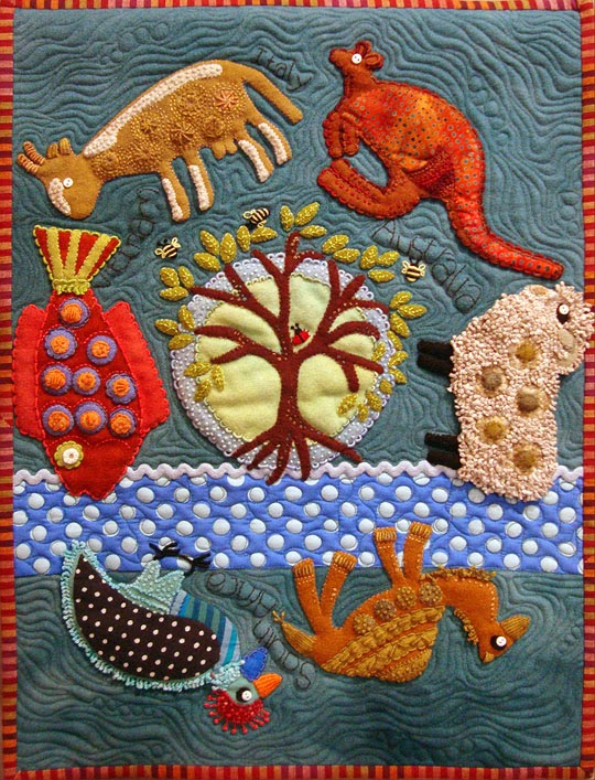 Travel Journal by Sue Spargo, wool applique wall quilt