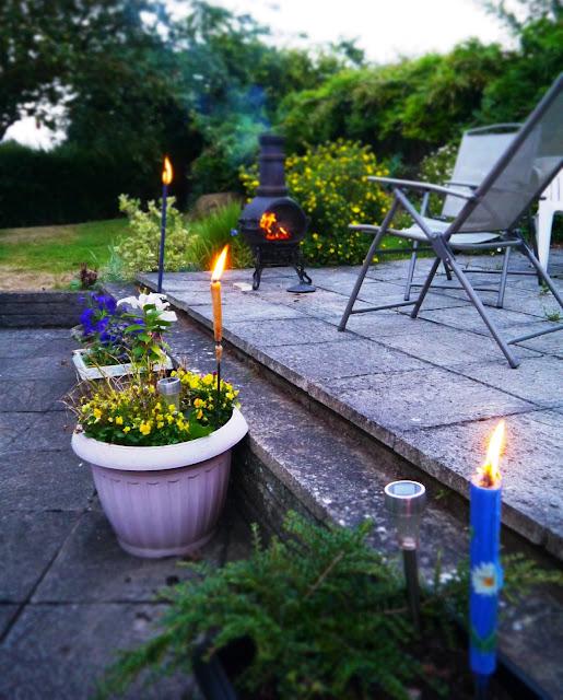 Firelight in garden