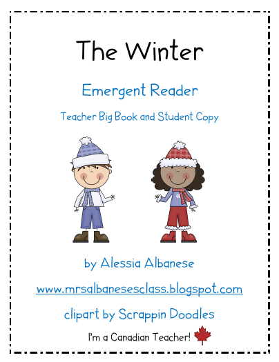 http://www.teacherspayteachers.com/Product/Emergent-Reader-The-Winter-Teacher-Resource-and-Student-Book-170850