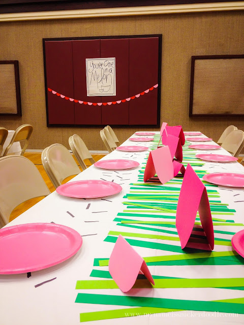 A super fun theme for a LDS Relief Society dinner or enrichment night!  You're One In A Melon watermelon theme is perfect for summer.  |  mynameissnickerdoodle.com