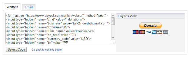 Donation button HTML code