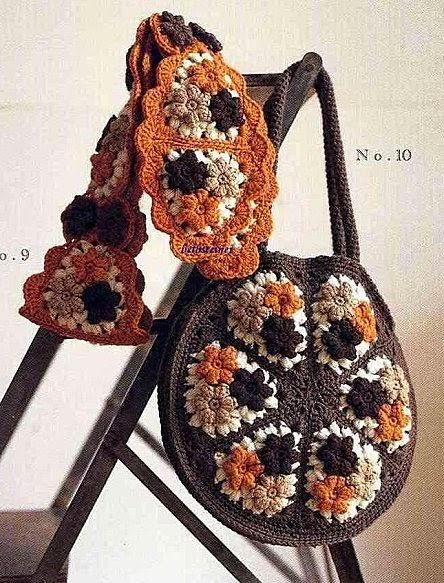 Cartera realizada con grannys al crochet con patrones