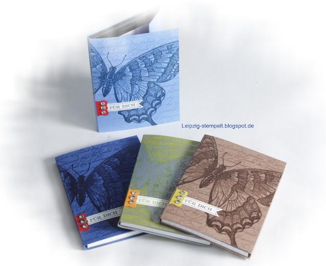 Swallowtail, Notizblöcke, Galerie, Holztechnik, Technik, Embossing,