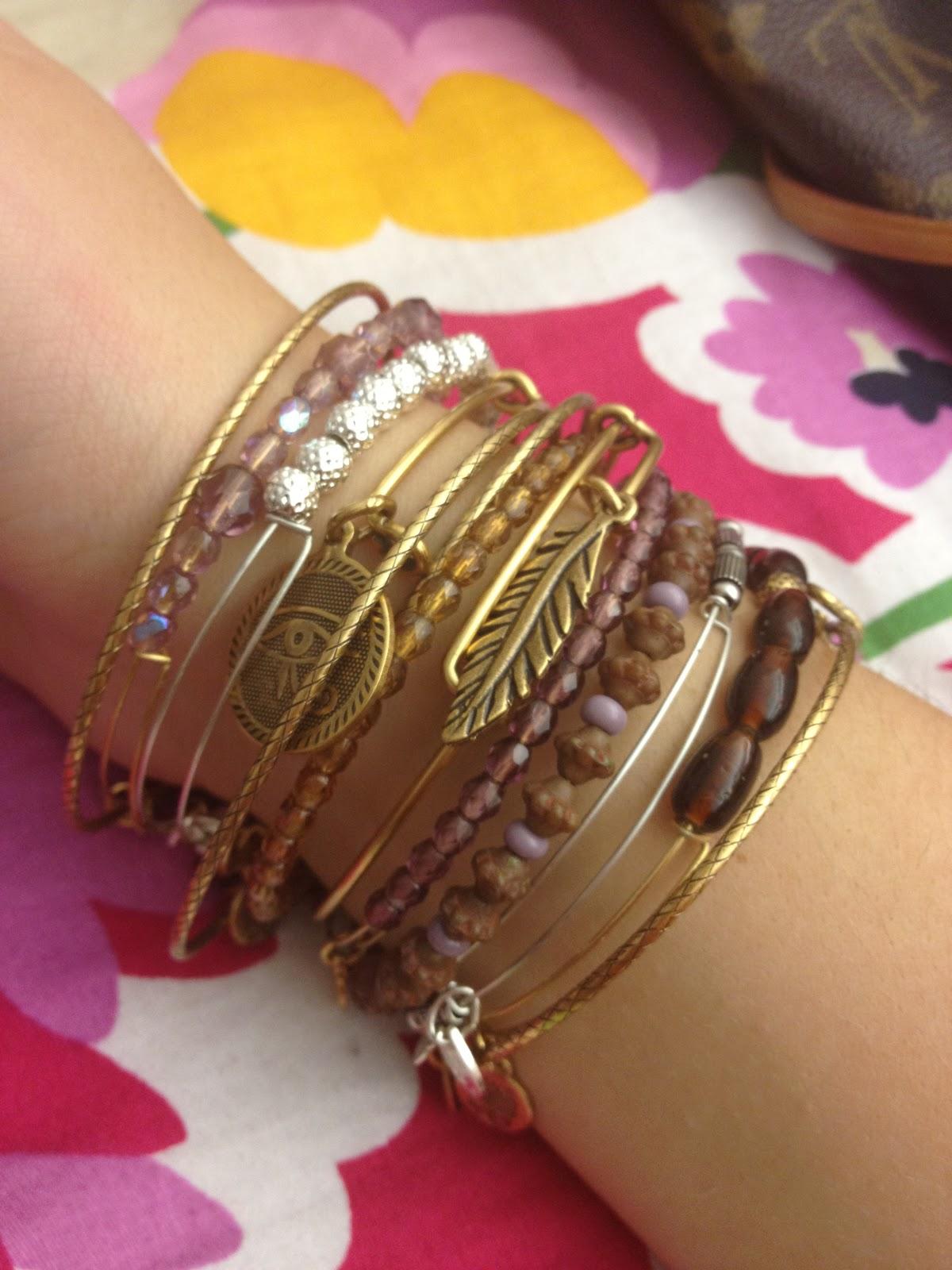 missglamourgiirl golden alex and ani bracelets