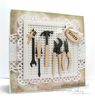 Our Daily Bread Designs Stamps sets: World's Greatest, ODBD Custom Dies: Mini Tags, Workshop Tools, Pegboard and Hooks, Beautiful Borders, Layered Lacey Squares, ODBD Shabby Rose Paper Collection