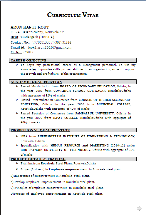 resume sample  for mba  u0026 diploma in human resource and