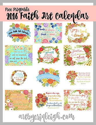 2016 Free  Printable Faith Art Calendar