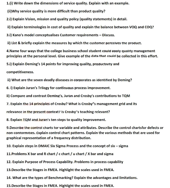 total quality management question papers anna university 2007 anna university chennai be electronics & tele-communication engineering total quality management question paper course: submit previous years university question papers and make money from adsense revenue sharing program.
