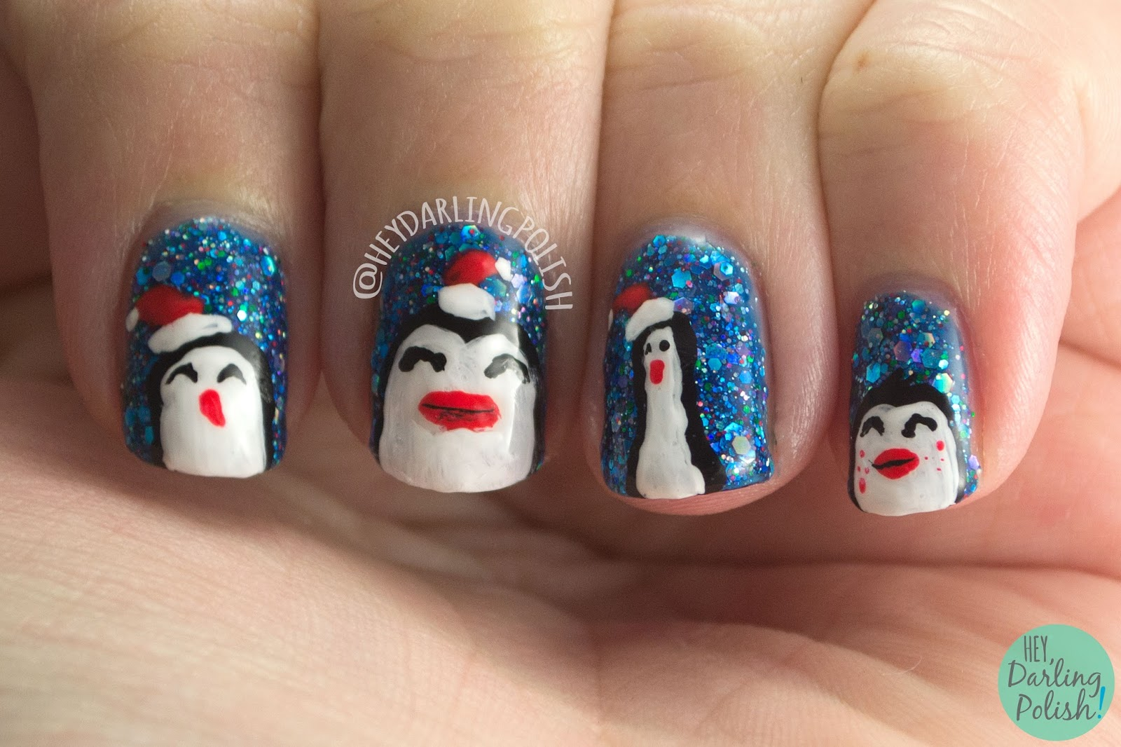 penguins, nail art, too cold to hold, glitter, nails, nail polish, indie nail polish, indie polish, kbshimmer, hey darling polish, winter 2014 collection