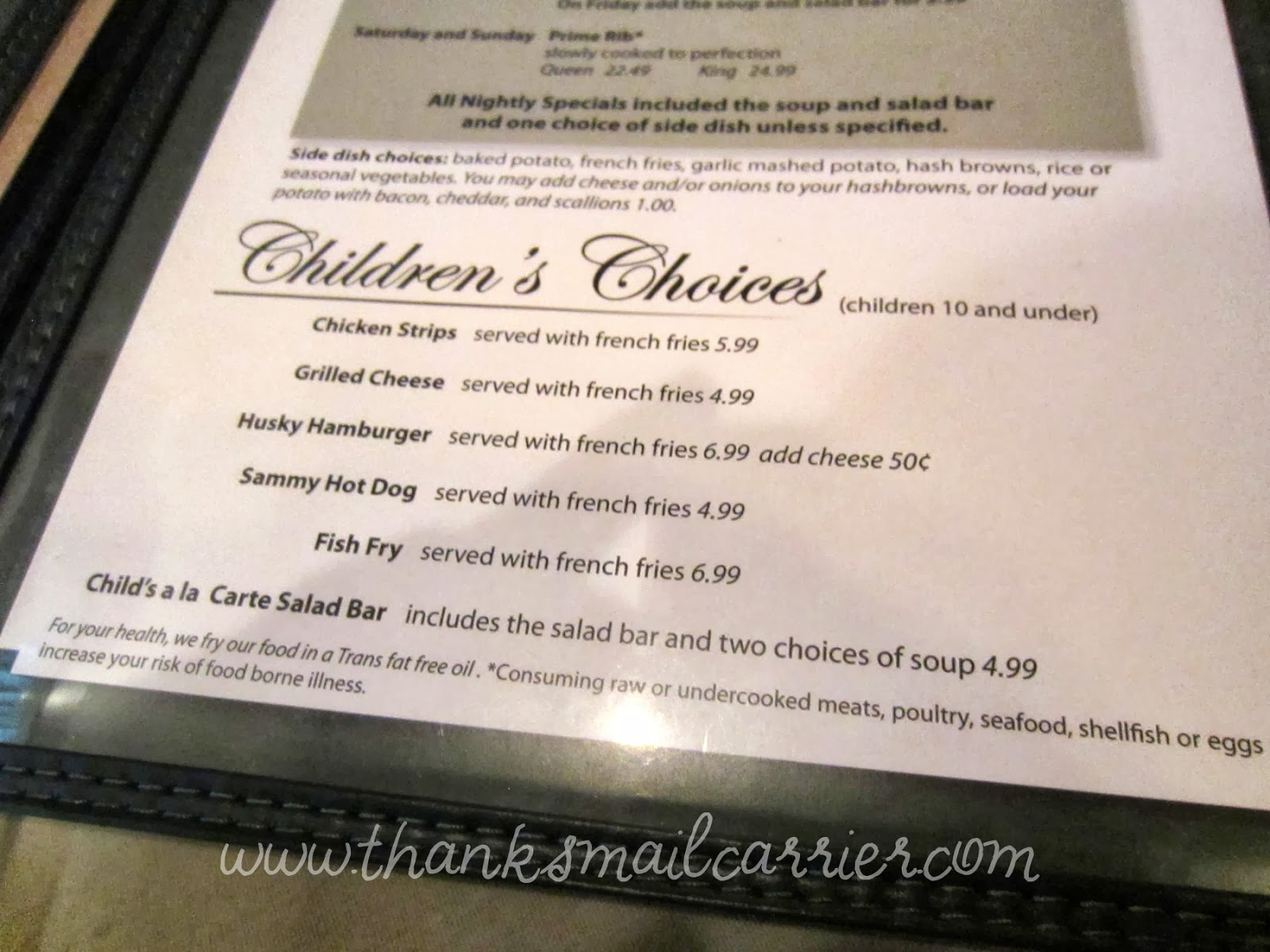 fitzgerald's children's menu