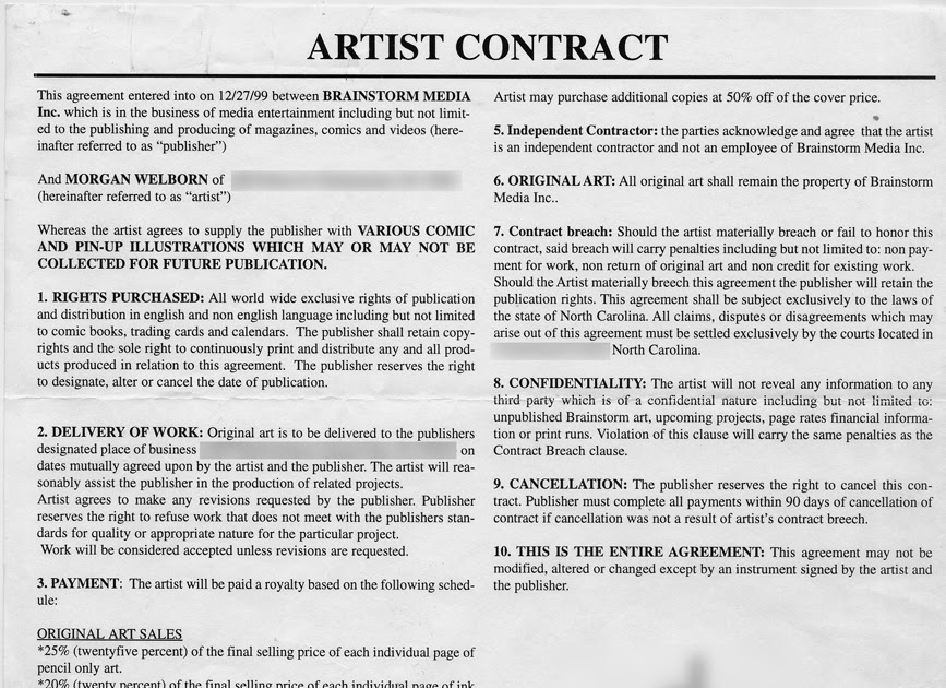 The Official Guide To Deadbeats In Comics: Sample Contract Of A