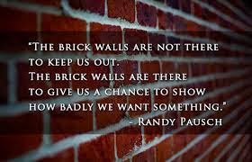 """The brink walls are not there to keep us out. The brick walls are there to give us a chance to show how badly we want something."""