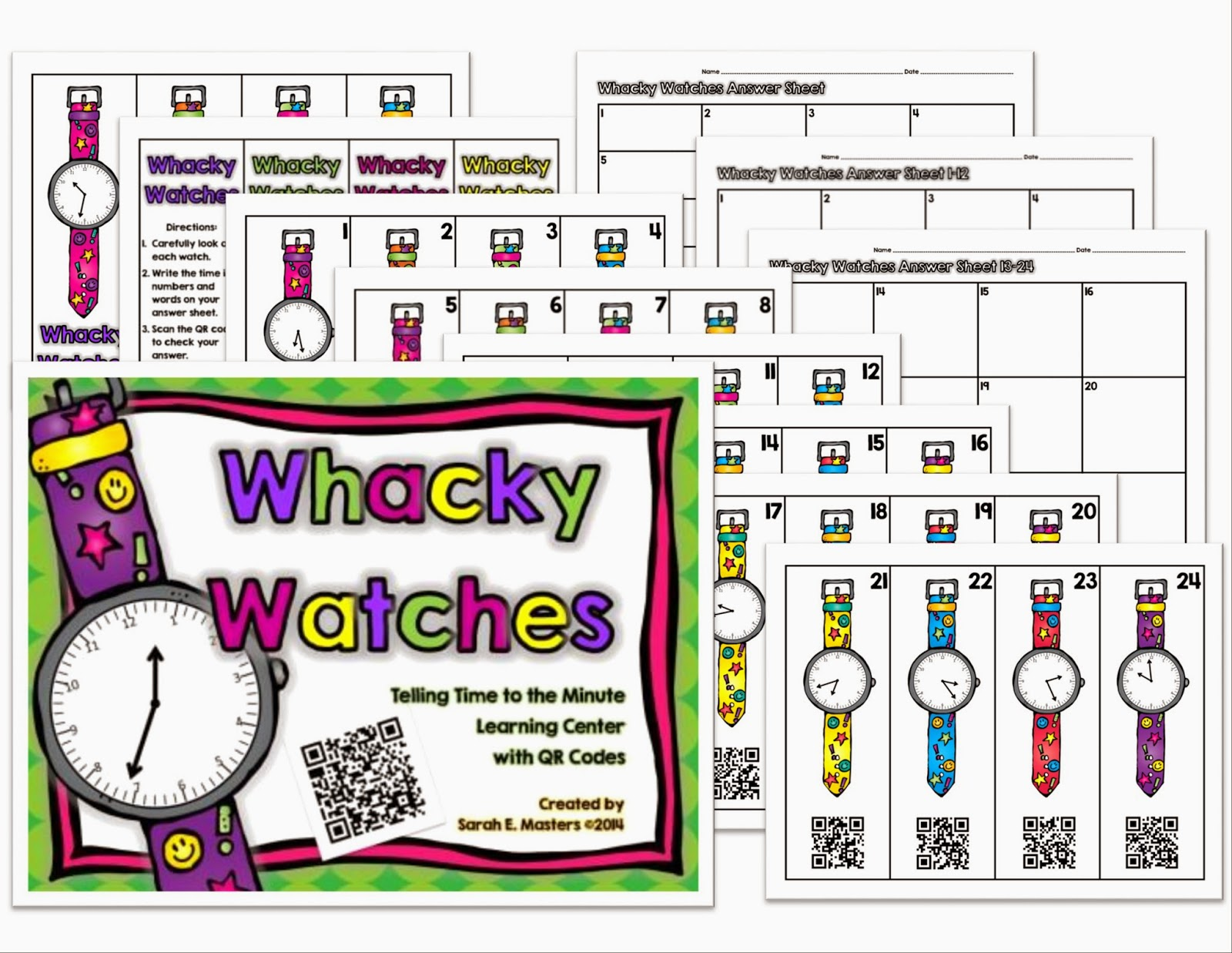 http://www.teacherspayteachers.com/Product/Whacky-Watches-Telling-Time-to-the-Minute-Math-Center-with-QR-Codes-1178951