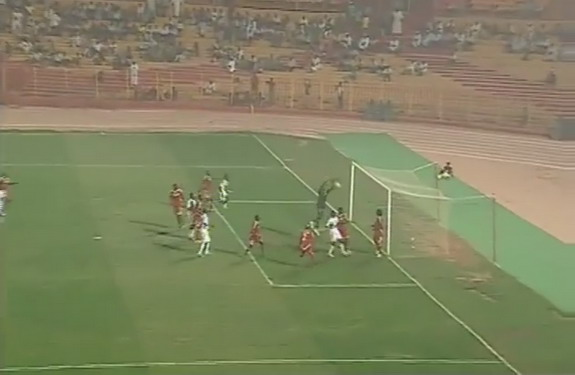 Sudan goalkeeper Abdel Rahman Ali Ibrahim fumbles the ball into his own net