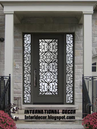 Italian Modern Wrought Iron Glass Door Inserts For Modern House, Grey Door