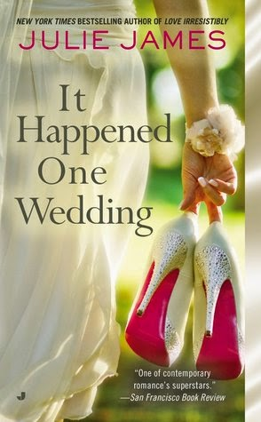 Cover description: A bride or a bridesmaid (we can only see her arm and part of her dress) walks away holding her shoes. The shoes are white and have hot pink soles.