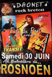 Affiche comité des fêtes de Rosnoën Finistère concert de Daonet