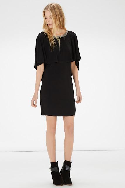 warehouse black cape dress, black cape dress,