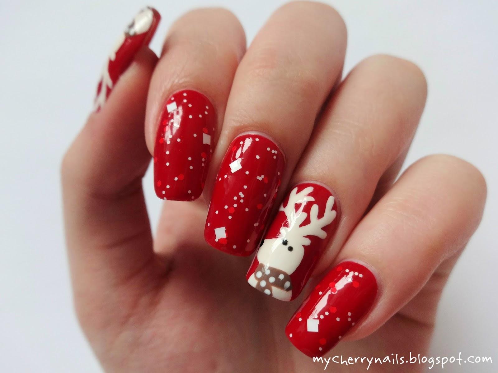 Cherry Nails Zdobienie Paznokci Naturalnych Renifery