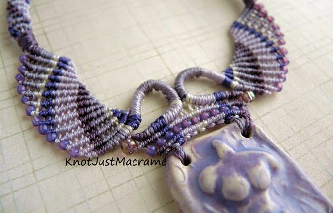 Micro macrame necklace by Sherri Stokey of Knot Just Macrame with Gaea ceramic pendant.