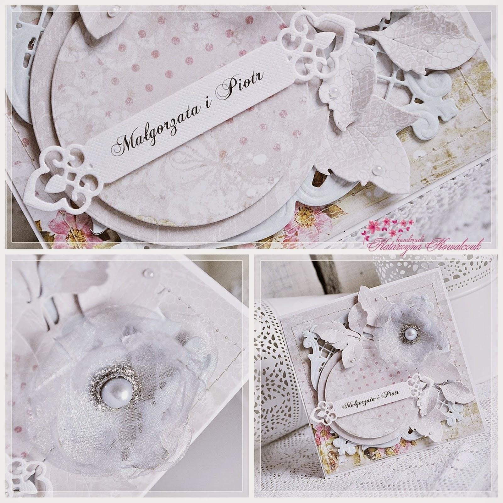 kartka ślubna z kwiatem z organzy scrapbooking